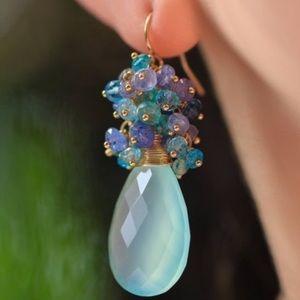 Blue Chalcedony Tanzanite cluster dangle earrings